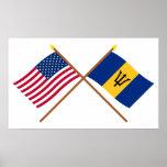 Los E.E.U.U. y banderas cruzadas Barbados Póster