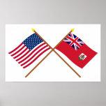 Los E.E.U.U. y banderas cruzadas Bermudas Poster
