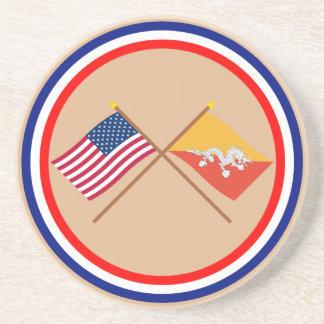 Los E.E.U.U. y banderas cruzadas Bhután Posavasos De Arenisca