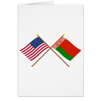 Los E.E.U.U. y banderas cruzadas Bielorrusia Tarjeta De Felicitación