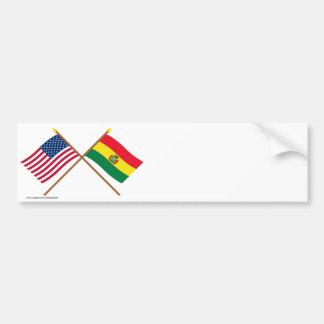 Los E.E.U.U. y banderas cruzadas Bolivia Pegatina Para Auto