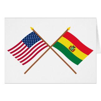 Los E.E.U.U. y banderas cruzadas Bolivia Tarjeta De Felicitación