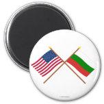 Los E.E.U.U. y banderas cruzadas Bulgaria Imán De Frigorífico