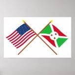 Los E.E.U.U. y banderas cruzadas Burundi Poster