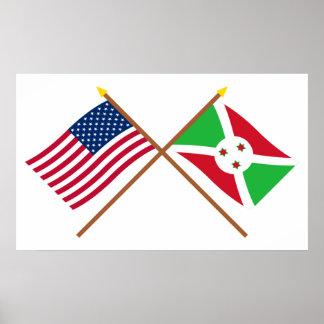 Los E.E.U.U. y banderas cruzadas Burundi Póster
