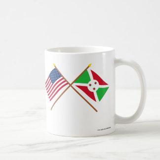 Los E.E.U.U. y banderas cruzadas Burundi Tazas