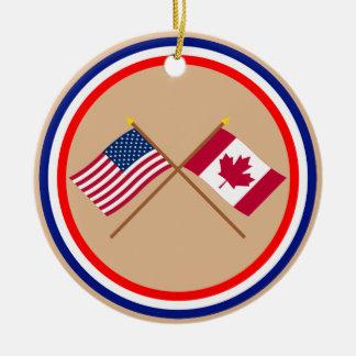 Los E.E.U.U. y banderas cruzadas Canadá Adorno Redondo De Cerámica