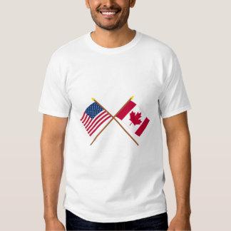 Los E.E.U.U. y banderas cruzadas Canadá Playera