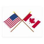 Los E.E.U.U. y banderas cruzadas Canadá Tarjeta Postal