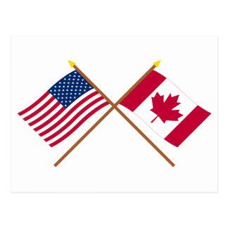 Los E E U U y banderas cruzadas Canadá Tarjeta Postal