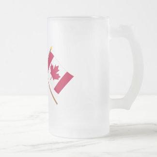 Los E.E.U.U. y banderas cruzadas Canadá Taza De Cristal