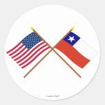 Los E.E.U.U. y banderas cruzadas Chile Pegatina Redonda