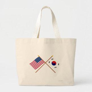 Los E.E.U.U. y banderas cruzadas Corea del Sur Bolsas