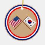 Los E.E.U.U. y banderas cruzadas Corea del Sur Ornamentos Para Reyes Magos