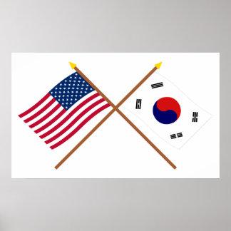 Los E.E.U.U. y banderas cruzadas Corea del Sur Posters
