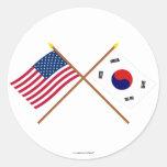 Los E.E.U.U. y banderas cruzadas Corea del Sur Pegatina Redonda