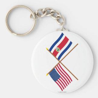 Los E.E.U.U. y banderas cruzadas Costa Rica Llavero Redondo Tipo Pin