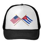 Los E.E.U.U. y banderas cruzadas Cuba Gorros Bordados
