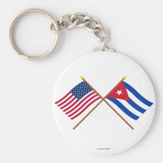 Los E.E.U.U. y banderas cruzadas Cuba Llavero Redondo Tipo Pin