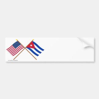 Los E.E.U.U. y banderas cruzadas Cuba Pegatina Para Auto