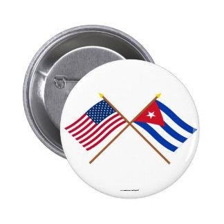 Los E.E.U.U. y banderas cruzadas Cuba Pins
