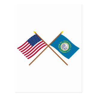 Los E.E.U.U. y banderas cruzadas Dakota del Sur Postales
