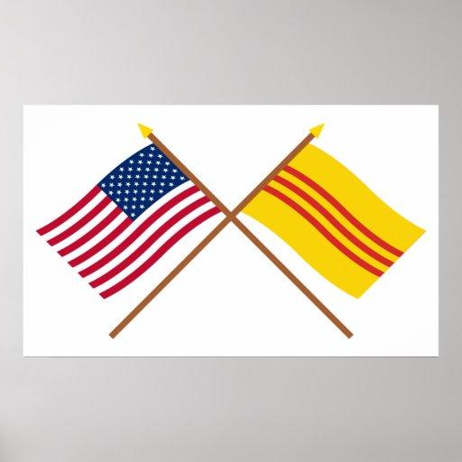 Los E.E.U.U. y banderas cruzadas del sur de Vietna Poster