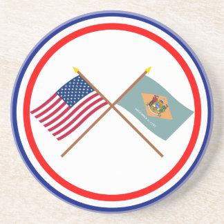 Los E.E.U.U. y banderas cruzadas Delaware Posavasos Personalizados
