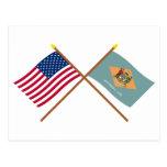 Los E.E.U.U. y banderas cruzadas Delaware Postal