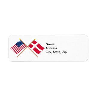 Los E.E.U.U. y banderas cruzadas Dinamarca Etiquetas De Remite