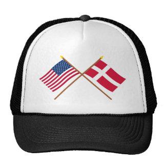 Los E.E.U.U. y banderas cruzadas Dinamarca Gorra