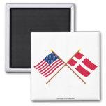 Los E.E.U.U. y banderas cruzadas Dinamarca Iman De Nevera