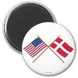 Los E.E.U.U. y banderas cruzadas Dinamarca Imán De Nevera