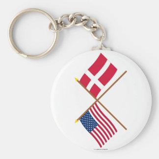 Los E.E.U.U. y banderas cruzadas Dinamarca Llavero Redondo Tipo Pin