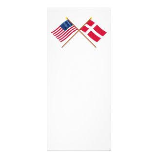 Los E.E.U.U. y banderas cruzadas Dinamarca Tarjetas Publicitarias Personalizadas