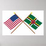 Los E.E.U.U. y banderas cruzadas Dominica Poster