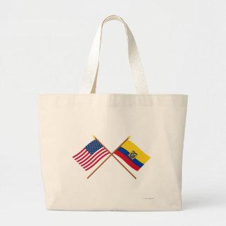 Los E.E.U.U. y banderas cruzadas Ecuador Bolsa De Mano
