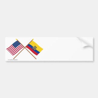 Los E.E.U.U. y banderas cruzadas Ecuador Pegatina Para Auto