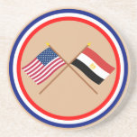 Los E.E.U.U. y banderas cruzadas Egipto Posavasos Para Bebidas