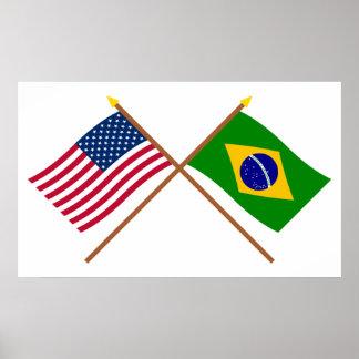 Los E.E.U.U. y banderas cruzadas el Brasil Impresiones