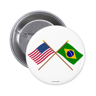 Los E.E.U.U. y banderas cruzadas el Brasil Pins