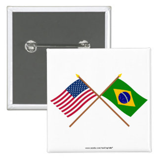 Los E.E.U.U. y banderas cruzadas el Brasil Pin