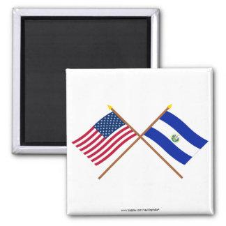Los E.E.U.U. y banderas cruzadas El Salvador Imán Cuadrado