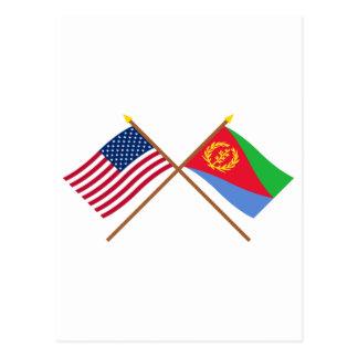 Los E.E.U.U. y banderas cruzadas Eritrea Tarjetas Postales