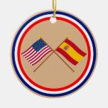 Los E.E.U.U. y banderas cruzadas España Ornamento Para Arbol De Navidad