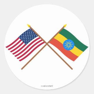 Los E.E.U.U. y banderas cruzadas Etiopía Pegatina Redonda
