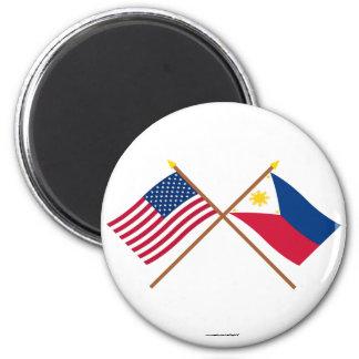 Los E.E.U.U. y banderas cruzadas Filipinas Imán
