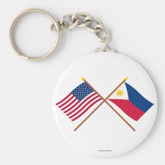 Los E.E.U.U. y banderas cruzadas Filipinas Llavero Redondo Tipo Pin