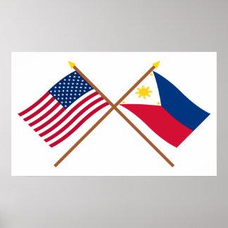 Los E.E.U.U. y banderas cruzadas Filipinas Impresiones