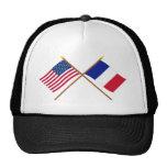 Los E.E.U.U. y banderas cruzadas Francia Gorro De Camionero